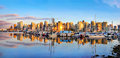Vancouver skyline panorama at sunset british columbia canada panoramic view of as seen from stanley park Royalty Free Stock Photos