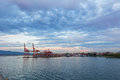 Vancouver skyline with port terminal at sunset, British Columbia, Canada. Royalty Free Stock Photo