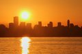 Vancouver Skyline Sunrise, English Bay Stock Image
