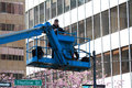 Vancouver Sun Run Photographer high up on crane Royalty Free Stock Photo