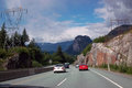 Vancouver to lilloet highway british columbia canada sea sky route squamish stawamish mountain dominates this view from the Royalty Free Stock Photography