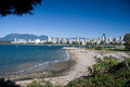 Vancouver west end and kitsilano dog beach view of on a sunny summer day Royalty Free Stock Images