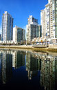 Vancouver yaletown neighborhood marina on false creek inlet brit british columbia canada Stock Image