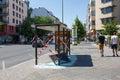 Vandalised bus stop in berlin germany june kreuzberg Royalty Free Stock Image