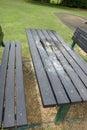 Vandalised picnic bench Royalty Free Stock Photo