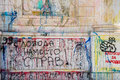 Vandalism and graffiti on building landmark. Royalty Free Stock Photo