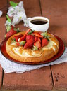 Vanilla cake with fresh strawberries summer pastries Royalty Free Stock Photo