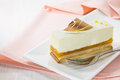 Vanilla cake slice on white dish Stock Image