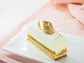 Vanilla cake slice on white dish Royalty Free Stock Photo