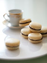Vanilla and chocolate french macarons with tea cup Stock Image