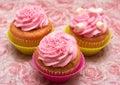 Vanilla cupcake with strawberry icing Royalty Free Stock Photo