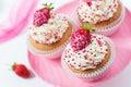 Vanilla cupcakes decorated strawberries