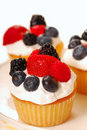 Vanilla cupcakes with fresh berries Royalty Free Stock Photo