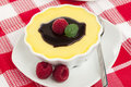Vanilla custard, chocolate topping, raspberries Royalty Free Stock Images