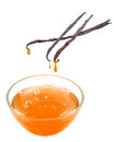 Vanilla extract flowing from the into the glass Royalty Free Stock Photography