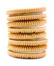 Vanilla flavor filled cookie stack Royalty Free Stock Photography