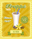 Vanilla frappe poster with drinking strew and glass in retro style illustration Royalty Free Stock Photos
