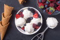 Vanilla ice cream with berries Royalty Free Stock Photo