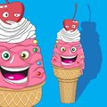Vanilla ice cream character with cherry character. Vector image