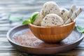 Vanilla ice cream with chocolate crumb.