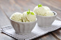 Vanilla ice cream with mint in ceramic bowl on wooden background Royalty Free Stock Photography