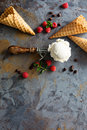 Vanilla ice cream scoop in a spoon