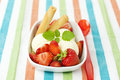 Vanilla ice cream with strawberries Stock Image