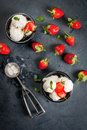 Vanilla ice cream with strawberries and mint Royalty Free Stock Photo