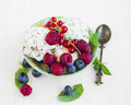 Vanilla icecream with chocolate flakes with berries and mint lea Royalty Free Stock Photo