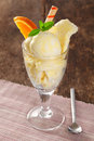 Vanilla icecream in a tall glass Royalty Free Stock Photography