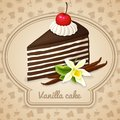 Vanilla layered cake poster dessert with chocolate cream cherry and food cooking icons on background vector illustration Royalty Free Stock Photos