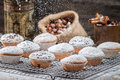 Vanilla muffins decorated with powder sugar on old wooden table Royalty Free Stock Photo