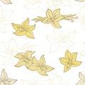 Vanilla pod flower graphic color seamless pattern illustration