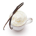 Vanilla pods cappuccino with and wafers on white background Royalty Free Stock Images