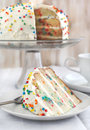 Vanilla sprinkles cake selective focus Stock Images