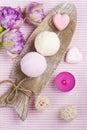 Vanilla and strawberry bath bombs Royalty Free Stock Photo