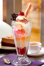 Vanilla strawberry cream sundae dessert Royalty Free Stock Photography