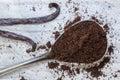 Vanilla and vanilla beans on a spoon macro Royalty Free Stock Photo