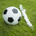Vanishing foam spray line soccer ball and marking Stock Images