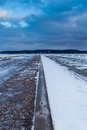 Vanishing point view of a harbour in wintertime Stock Images