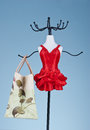 Vanity dummy hanger in red dress holding a shopping bag Royalty Free Stock Photo