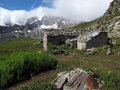 Vanoise; Hut on an alp Royalty Free Stock Photography