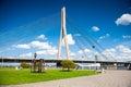 Vansu cable-stayed bridge over Daugava river in Riga, Latvia Royalty Free Stock Photo