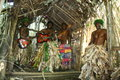 Vanuatu tribal village men playing guitar Royalty Free Stock Photo