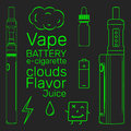 Vape shop set neon vector