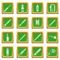 Vaping icons set green