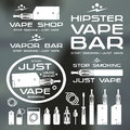 Vapor bar and vape shop logo e cigarette icons white print on blurred background Stock Photography