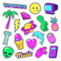 Vaporwave Fashion Funky Elements with Heart, Icecream and Planet for Stickers, Badges