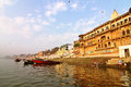 Varanasi ghats morning view India Royalty Free Stock Photos