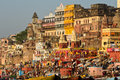 Varanasi ghats temples towering over the lining the ganges river at Stock Image